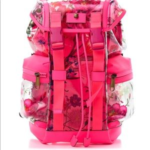 Authentic Gucci PVC Floral Buckle Backpack Fuchsia
